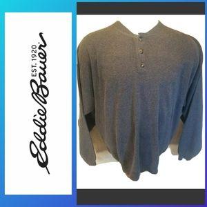 EDDIE BAUER  Men XL Grey Button Pullover Sweater